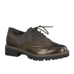Marco Tozzi Cafe Metallic Womens Lace Up Brogues