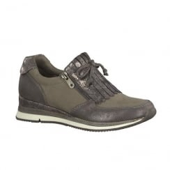 Marco Tozzi Taupe Womens Suede Fashion Trainer
