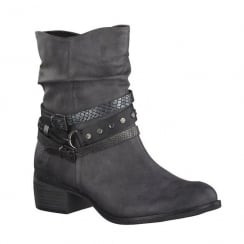 Marco Tozzi Dark Grey Block Heeled Mid Calf Boot