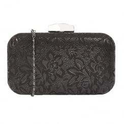 Lotus Puffin Floral Print Front Clutch Bag - Black - 1701