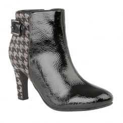 Lotus Soni Black Crinkle Patent Ankle Boots