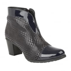 Lotus Beanie Navy Print Lea Leather Heeled Ankle Boots