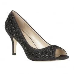 Lotus Serenity Black Diamante Peep-Toe Court High Heels - 50582