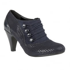 Lotus Dolley Navy Print Cone Heel Ankle Shoe Boots