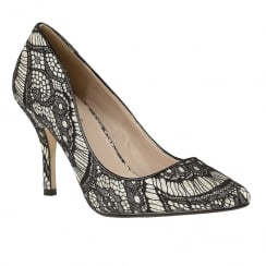 Lotus Heath Black Lace Gold Glitz Court Heels
