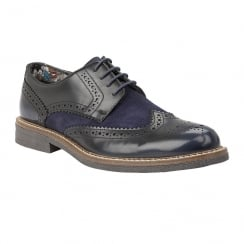 Lotus Mens Castell Navy Suede Leather Lace Up Brogues