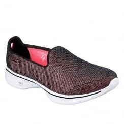 Skechers Womens GOwalk 4 Majestic Black/Pink Sneakers