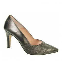 Capollini Raine Crinkle Pewter Pointed Court Heels -Z101