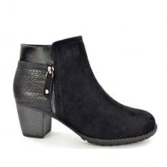 Hengst Ladies Comfort Black Suede Mid Heel Ankle Boots