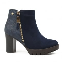 XTI Womens Navy Block Heeled Ankle Boots
