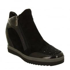 Ara Womens Wedge Black Ankle Boots