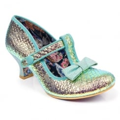 Irregular Choice Lazy River Green Mid Heeled T-bar Velcro Shoe