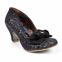 Irregular Choice Kanjanka Black Glitter Mid Heeled Shoe