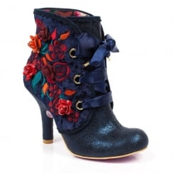 Irregular Choice Autumn Harvest Navy Heeled Ankle Boots