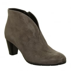 Ara Suede Metallic Printed Grey Ankle Boot