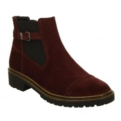 Jenny by Ara Flat Suede Burgundy Ankle Boot