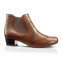 Jenny by Ara Heeled Brown Ankle Brogue Boot