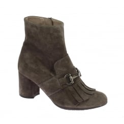 I-6834 Wonders Taupe Grey Tassel Front Ankle Boot