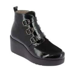 H-3224 Wonders Black Patent Wedge Ankle Boot