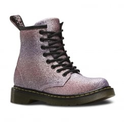 Dr Martens Junior Delaney Glitter Pink Lace Up Ankle Boots
