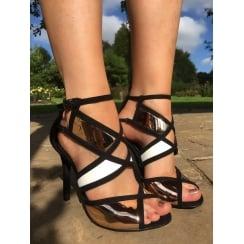 Glamour Black & Rose Gold Strappy Sandal
