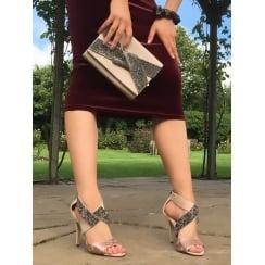Womens Glamour High Heel Nude Cross Over Sandals