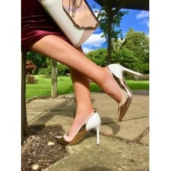 Womens Glamour Rose Gold & White Pointed Courts