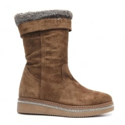 Alpe Brown Fur Lined Soft Suede Ankle Boot - 3111