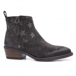 Alpe Anthracite Leather Stars Western Style Ankle Boot - 3457