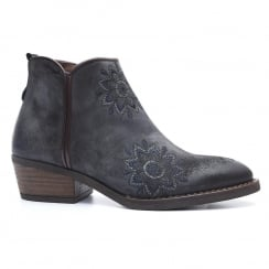 Alpe Grey Leather Floral Embroidery Western Style Ankle Boot