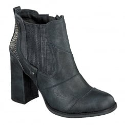 Mustang Womens Navy Heeled Ankle Boots