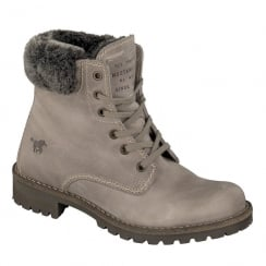 Mustang Womens Taupe/Grey Fur Lined Ankle Boots