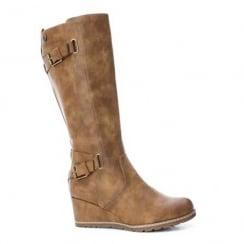 Refresh Camel Wedge Heeled Long Boot