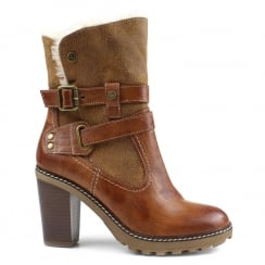Refresh Camel Block Heeled Ankle Boot