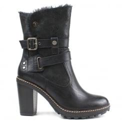 Refresh Black Block Heeled Ankle Boot