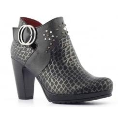 Jose Saenz 7096 Black Python Ankle Boot