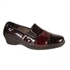 Notton Womens Burgandy Comfort Snake Effect Wedge Heeled Shoe