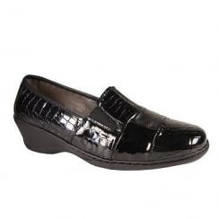 Notton Womens Casual Snake Effect Wedge Patent Shoe