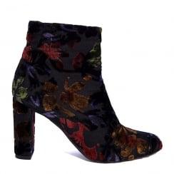 Paco Herrero Velvet Multi Floral Heeled Ankle Boot