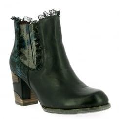 Laura Vita Womens Anna 01 Black Lace Trim Ankle Boots