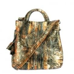 Laura Vita Womens Chypre Bronze Shoulder Bag