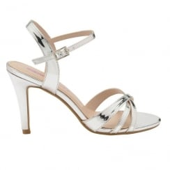 Dolcis Ladies Silver Belinda Stiletto Heeled Open Toe Sandals