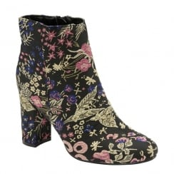 Dolcis Ladies Florine Black/Multi Printed Heeled Ankle Boots