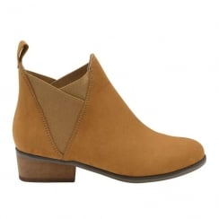 Dolcis Ronni Tan Pull On Gusset Chelsea Boots
