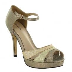 Menbur Persei Gold Glitter Platform Sandals