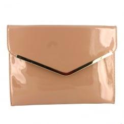 Menbur Alyssum Patent Nude Envelope Clutch Bag