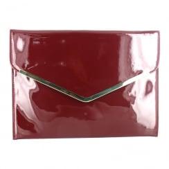 Menbur Alyssum Patent Burgundy Envelope Clutch Bag