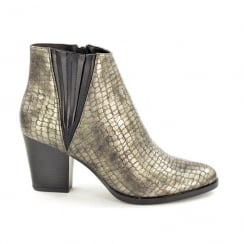 Fabulous Fabs Pewter Snake Print Ankle Heeled Boots