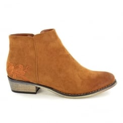 Fabulous Fabs Womens Tan Suede Flower Detail Ankle Boots