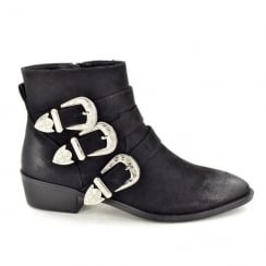 Fabulous Fabs Black Western Buckle Ankle Boot